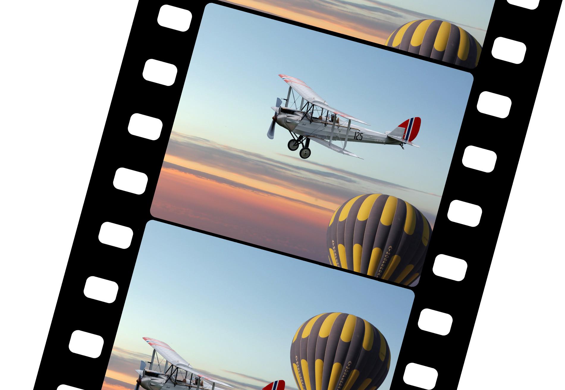 Bilde av filmstripe med et fly og en luftballong i solnedgang